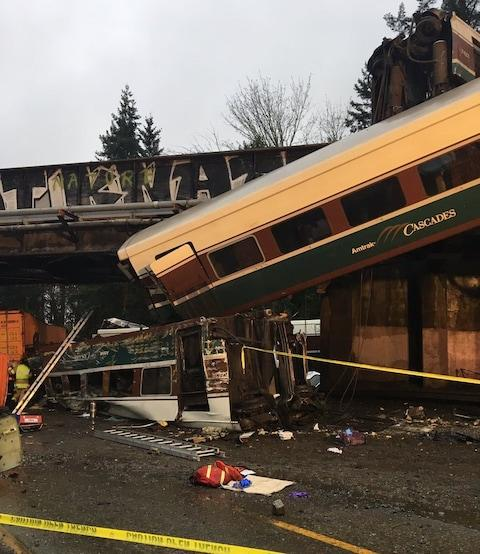 Picture posted on Twitter by Trooper Brooke Bova‏, Official Washington State Patrol District 1 Public Information Officer for Thurston, of Amtrak train derailment near Tacoma, Washington