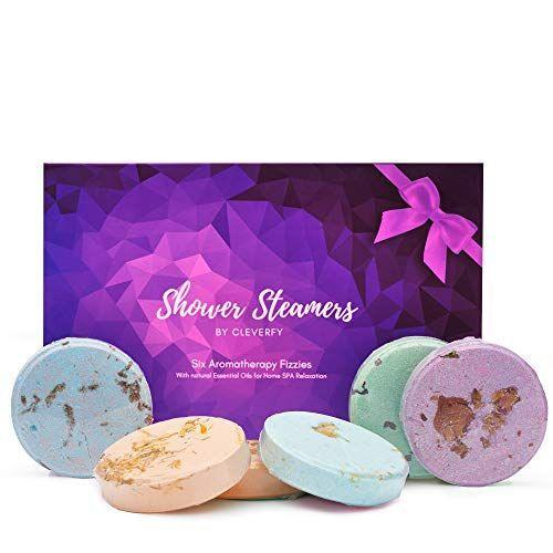 """<p><strong>CLEVERFY</strong></p><p>amazon.com</p><p><strong>$16.99</strong></p><p><a href=""""https://www.amazon.com/dp/B07L5QGF38?tag=syn-yahoo-20&ascsubtag=%5Bartid%7C10050.g.32121918%5Bsrc%7Cyahoo-us"""" rel=""""nofollow noopener"""" target=""""_blank"""" data-ylk=""""slk:Shop Now"""" class=""""link rapid-noclick-resp"""">Shop Now</a></p><p>She'll feel pampered when she pops one of these aromatherapy steamers in her shower. Scents include lavender, menthol/eucalyptus, vanilla, watermelon, grapefruit, and peppermint.</p>"""