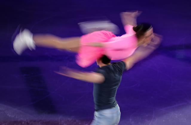 REFILE - CLARIFYING CAPTION Figure Skating - Pyeongchang 2018 Winter Olympics - Gala Exhibition - Gangneung Ice Arena - Gangneung, South Korea - February 25, 2018 - Valentina Marchei and Ondrej Hotarek of Italy perform. REUTERS/Lucy Nicholson