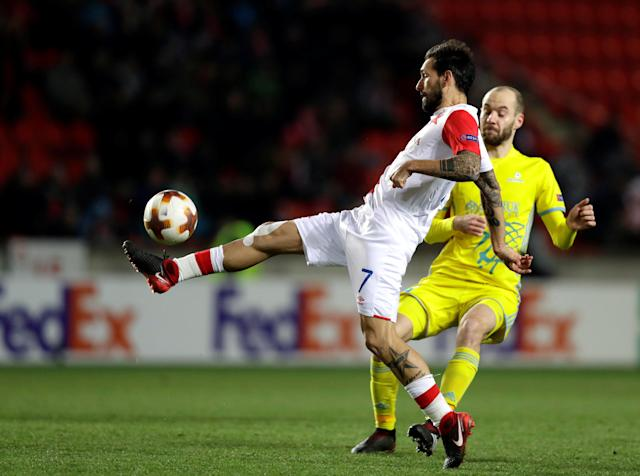 Soccer Football - Europa League - Slavia Prague vs Astana - Eden Arena, Prague, Czech Republic - December 7, 2017 Slavia Prague's Danny in action with Astana's Ivan Mayewski REUTERS/David W Cerny