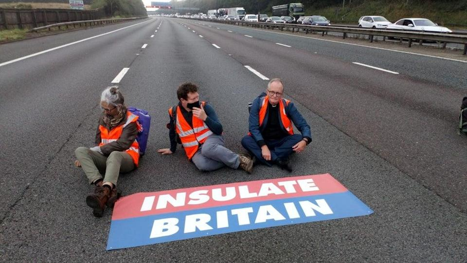 Members of Insulate Britain blocked parts of the M25 on Wednesday - the second such protest in a week (via REUTERS)