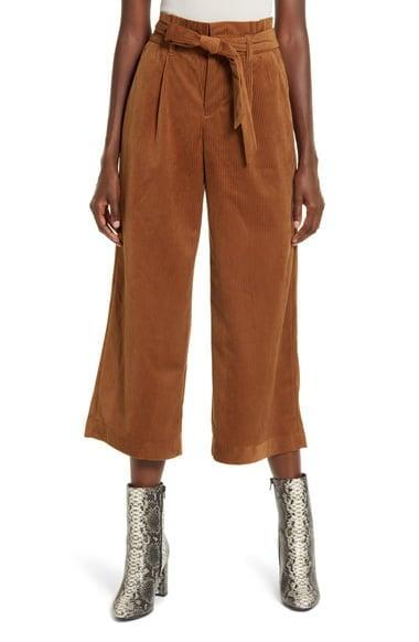 <p>Rock these <span>Londyn High Waist Corduroy Paperbag Waist Pants</span> ($55) with booties.</p>