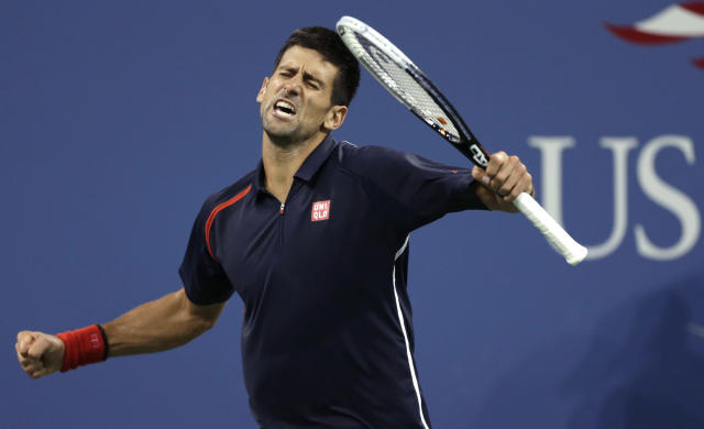 Novak Djokovic, of Serbia, reacts after winning a point against Juan Martin del Potro, of Argentina, during a quarterfinal of the U.S. Open tennis tournament, Thursday, Sept. 6, 2012, in New York. (AP Photo/Charles Krupa)