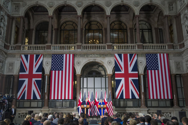 President Donald Trump speaks during a news conference with British Prime Minister Theresa May at the Foreign Office, Tuesday, June 4, 2019, in central London. (AP Photo/Alex Brandon)