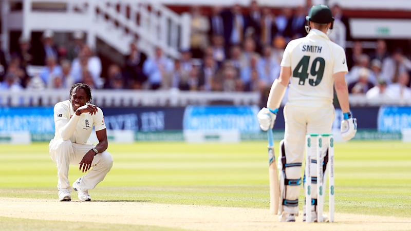 Jofra Archer, pictured here in action against Australia during the Ashes.