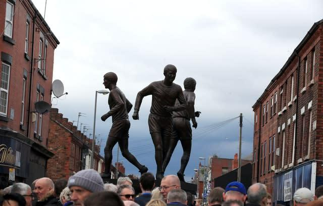 A statue outside Goodison Park recalls the 'Holy Trinity' of Kendall, Harvey and Ball (Peter Byrne/PA)