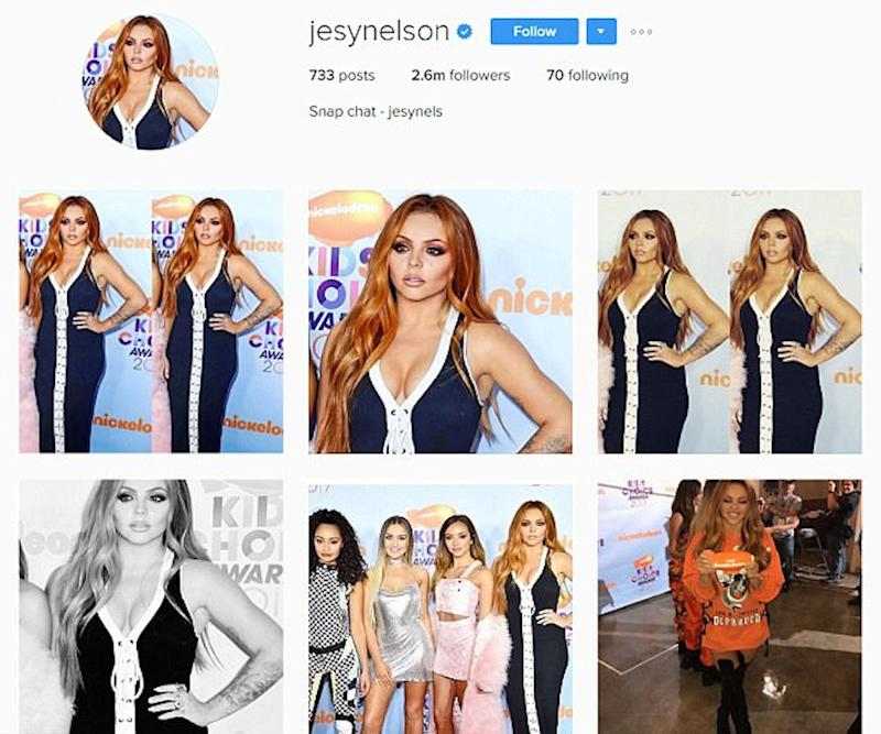 Jesy posted a string of snaps from the event despite Perrie's earlier claim that she 'didn't like any of the photos' (Copyright: Instagram/jesynelson)