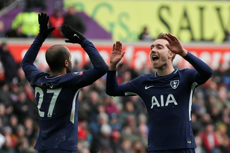 Harry who?: Tottenham's Christian Eriksen shrugged off the absence of Harry Kane with two goals in the 3-0 win over Swansea