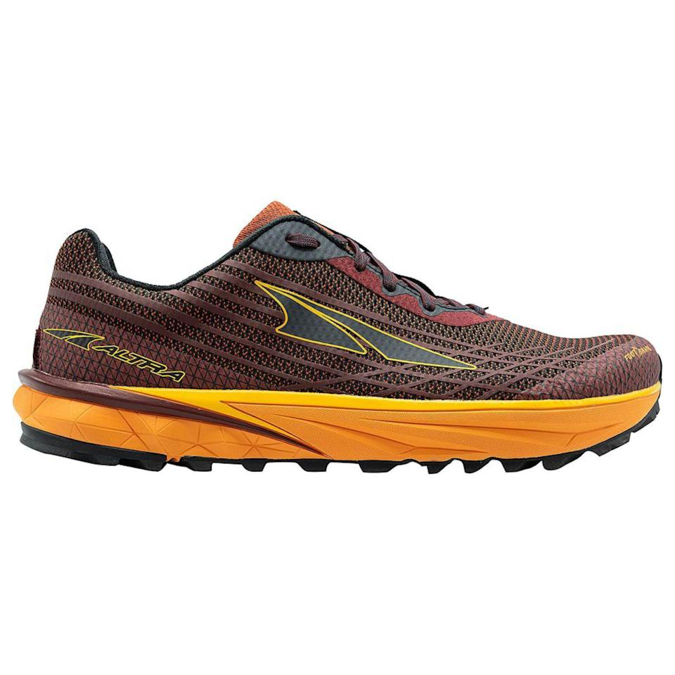 """<p><strong>Altra</strong></p><p>rei.com</p><p><strong>$140.00</strong></p><p><a href=""""https://go.redirectingat.com?id=74968X1596630&url=https%3A%2F%2Fwww.rei.com%2Fproduct%2F166582&sref=https%3A%2F%2Fwww.prevention.com%2Ffitness%2Fworkout-clothes-gear%2Fg36533538%2Fmemorial-day-running-shoe-sale-2021%2F"""" rel=""""nofollow noopener"""" target=""""_blank"""" data-ylk=""""slk:Shop Now"""" class=""""link rapid-noclick-resp"""">Shop Now</a></p><p>For long trail runs or hikes, the Timp will keep your feet comfortable with its ample cushioning, foot shaped design, and natural feeling zero drop. The bottom is grippy without being heavy and obtrusive, which is great for newer and experienced trail runners alike. </p><p><a class=""""link rapid-noclick-resp"""" href=""""https://www.amazon.com/ALTRA-AL0A4PE9-Trail-Running-Orange/dp/B07TQD3786/ref=sr_1_2?crid=J6976ERGV5KN&dchild=1&keywords=altra+timp+3&qid=1621604192&sprefix=altra+timp%2Caps%2C172&sr=8-2&tag=syn-yahoo-20&ascsubtag=%5Bartid%7C2141.g.36533538%5Bsrc%7Cyahoo-us"""" rel=""""nofollow noopener"""" target=""""_blank"""" data-ylk=""""slk:Buy Men's"""">Buy Men's </a></p>"""