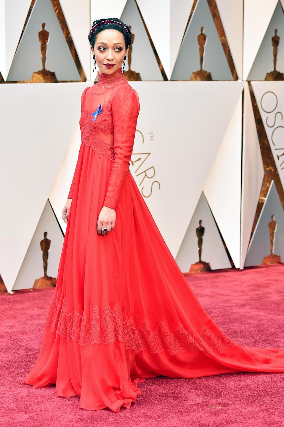 """<p>Call her the Lady in Red Valentino. The <em>Loving</em> star and Best Actress nominee dazzled on the carpet, accessorizing her scarlet gown with a blue ACLU ribbon.<br> (Photo by Frazer Harrison/Getty Images)<br><br><a rel=""""nofollow"""" href=""""https://www.yahoo.com/style/oscars-2017-vote-for-the-best-and-worst-dressed-225105125.html"""" data-ylk=""""slk:Go here to vote for best and worst dressed.;outcm:mb_qualified_link;_E:mb_qualified_link;ct:story;"""" class=""""link rapid-noclick-resp yahoo-link"""">Go here to vote for best and worst dressed.</a> </p>"""