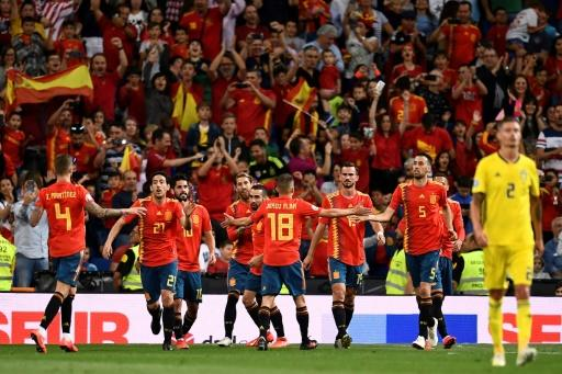 Sergio Ramos celebrates with his Spain teammates after scoring in their 3-0 win over Sweden in Euro 2020 qualifying