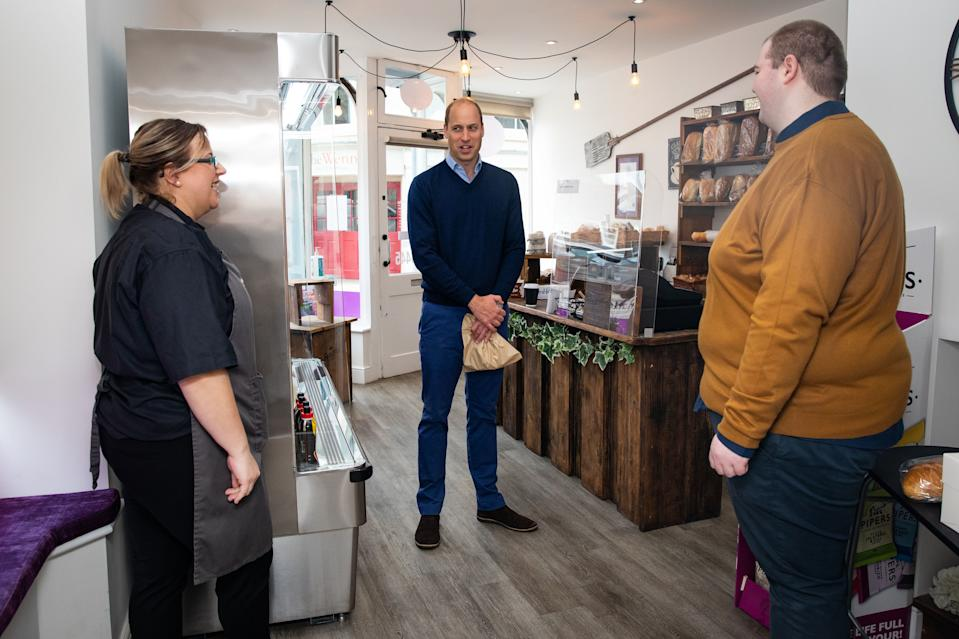 KING'S LYNN, ENGLAND - JUNE 19: Prince William, Duke of Cambridge speaks to shop staff Sarah Easthall and Ted Bartram during a visit to Smiths the Bakers, in the High Street on June 19, 2020 in King's Lynn, Norfolk. (Photo by Aaron Chown/WPA Pool/Getty Images)