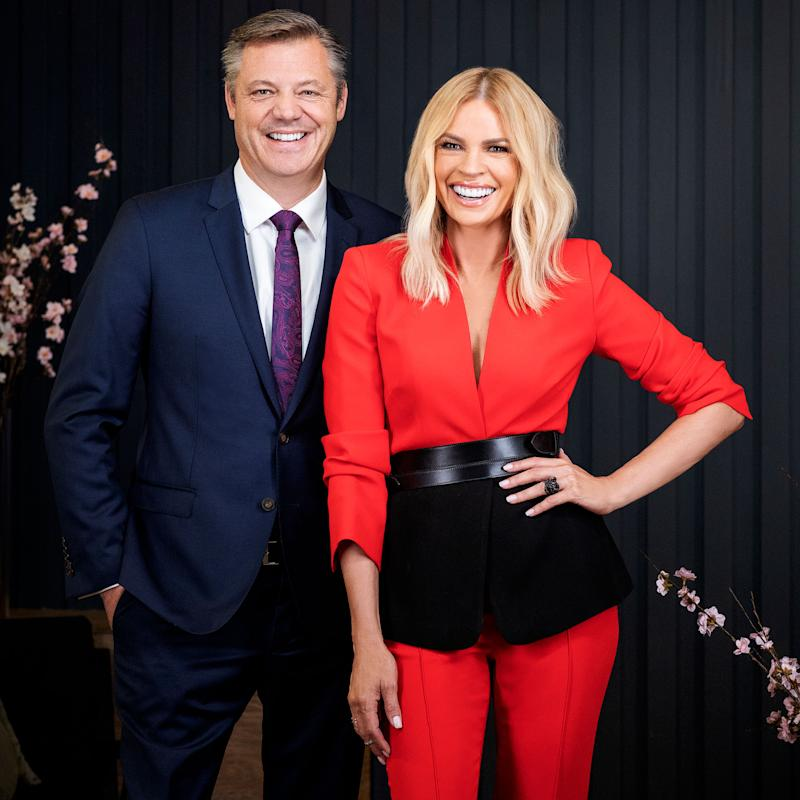 Sonia Kruger poses with James Warburton from Channel Seven
