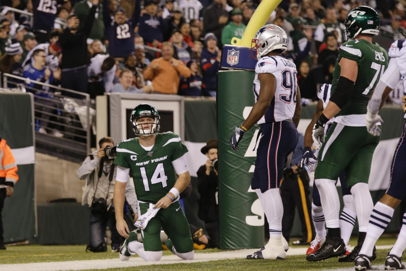 New York Jets quarterback Sam Darnold (14) reacts after the New England Patriots scored a safety during the second half of an NFL football game Monday, Oct. 21, 2019, in East Rutherford, N.J. (AP Photo/Adam Hunger)