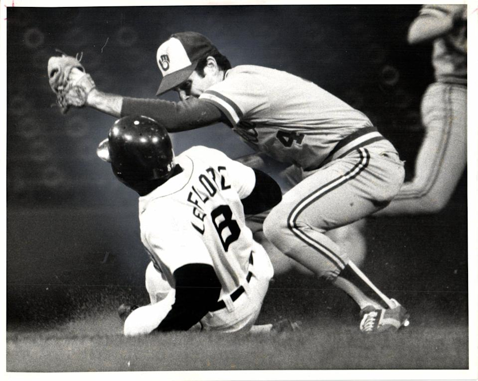 Ron LeFlore slides under the glove of second baseman Paul Molitor in the third inning for his 51st steal of the year in 1979.