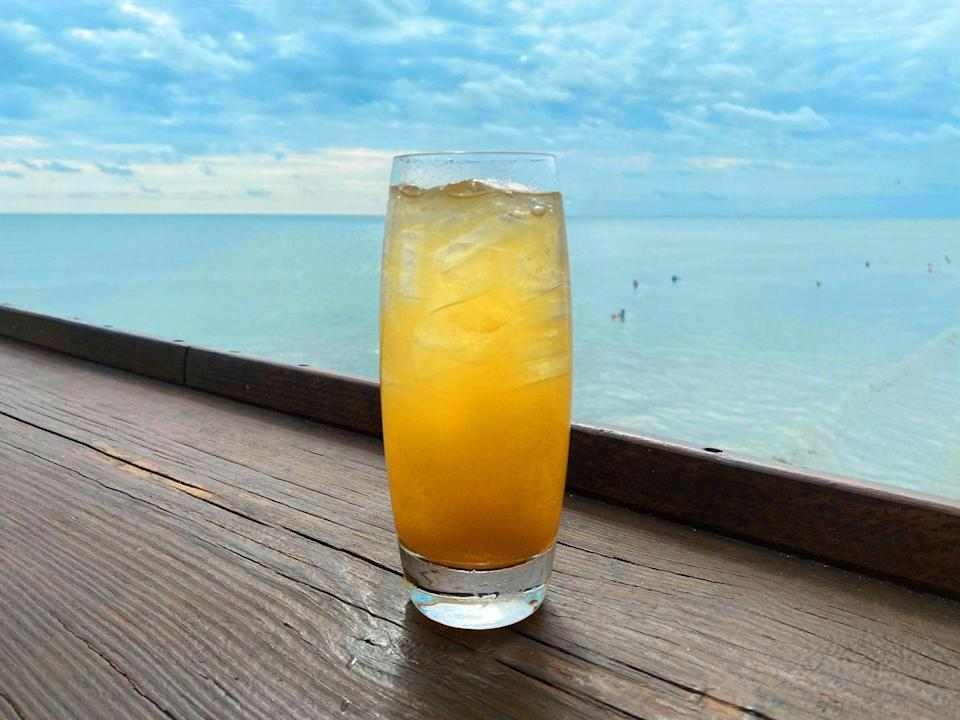 <p><strong>Ingredients</strong></p><p>1 oz Pumpkin Spice Syrup*<br>2 oz Buffalo Trace Bourbon<br>.25 oz lemon juice<br>4 oz soda water<br>Lemon wedges</p><p><strong>Instructions </strong></p><p>Fill a cocktail shaker with ice. Add pumpkin spice syrup, bourbon and lemon juice for the cocktail. Shake well. Strain into a rocks glass with ice. Top with soda water. </p><p>*Pumpkin Spice Syrup: Combine 8 oz pumpkin puree, 1 cup water, 1 cup granulated sugar, and .5 tsp pumpkin pie spice in a sauce pan and boil, stirring constantly. Remove from heat, cove and let sit for 15 minutes. Strain into an airtight container and allow to cool before use. Can be stored in the refrigerator up to a week.</p><p><em>From Westgate Cocoa Beach Resort in Cocoa Beach, FL</em></p>
