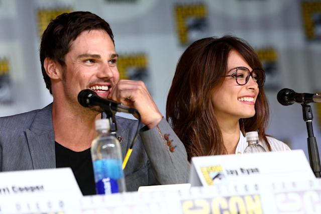 SAN DIEGO, CA - JULY 18: Actor Jay Ryan (L) and actress Kristin Kreuk attend the 'Beauty And The Beast' panel during Comic-Con International 2013 at San Diego Convention Center on July 18, 2013 in San Diego, California. (Photo by Imeh Akpanudosen/Getty Images)