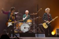 """Keith Richards, Ronnie Wood and Charlie Watts of The Rolling Stones perform during their """"Latin America Ole Tour"""" at the Foro Sol in Mexico City"""