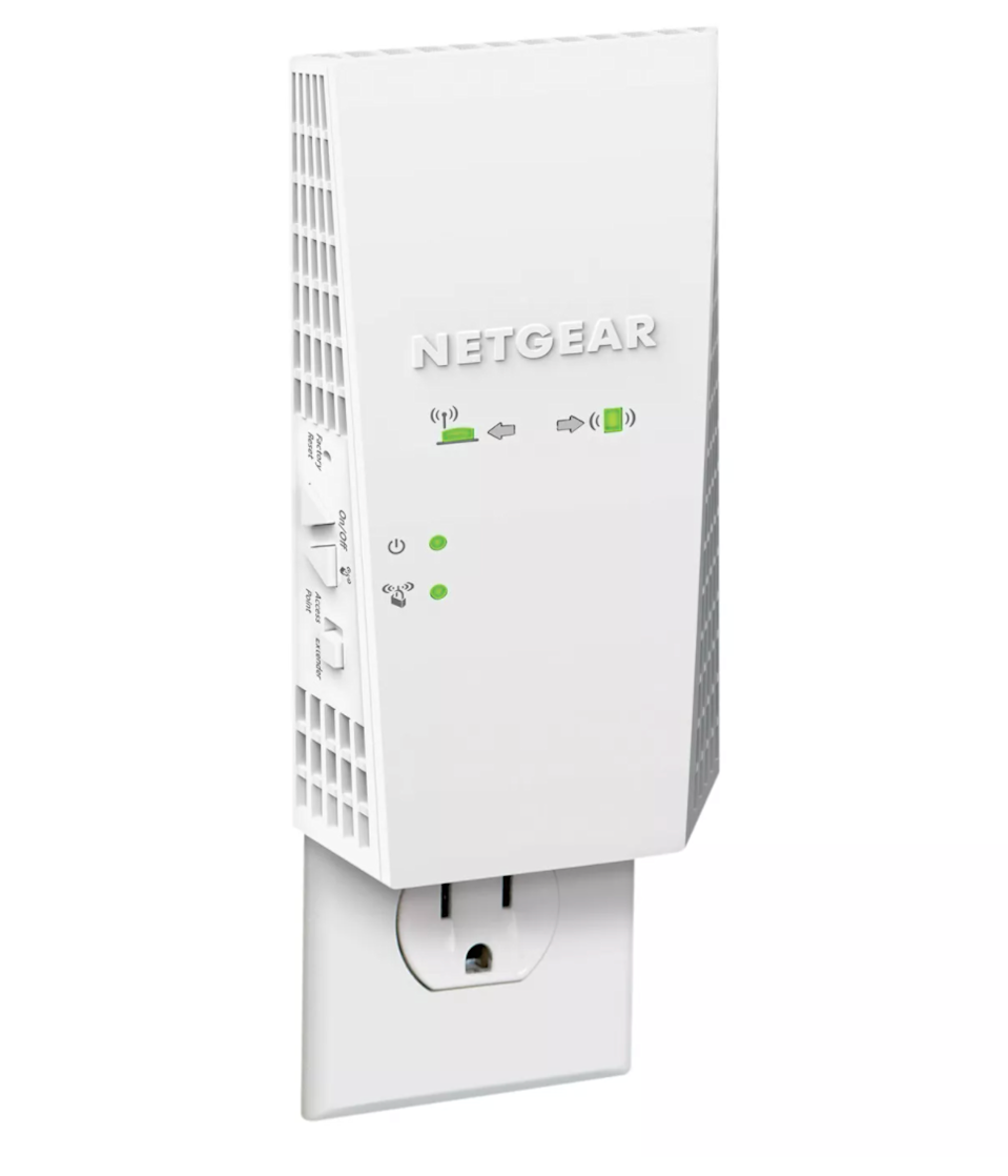 "<h2>Target AC1900 WiFi Range Extender Essential Edition</h2><br><strong>Perks:</strong> <strong>Gaming & Streaming</strong><br>An extender for gamers! According to NETGEAR, this device is your ticket to uninterrupted gaming and HD streaming inside your shared WFH space. <br><strong><br>The Hype:</strong> 4.7 out of 5 stars and 855 reviews <br><strong><br>Strong Signalers:</strong> ""I highly recommend this product! My daughter couldn't get a Wi-Fi signal in her room to play her online games, so we bought the extender and she has a great signal now with no problems! Easy to set up with great instructions.""<br><br><em>Shop <strong><a href=""http://goto.target.com/kBKEz"" rel=""nofollow noopener"" target=""_blank"" data-ylk=""slk:NETGEAR"" class=""link rapid-noclick-resp"">NETGEAR</a></strong></em><br><br><br><strong>NETGEAR</strong> Netgear AC1900 WiFi Range Extender, $, available at <a href=""https://go.skimresources.com/?id=30283X879131&url=https%3A%2F%2Fgoto.target.com%2FXDajo"" rel=""nofollow noopener"" target=""_blank"" data-ylk=""slk:Target"" class=""link rapid-noclick-resp"">Target</a>"