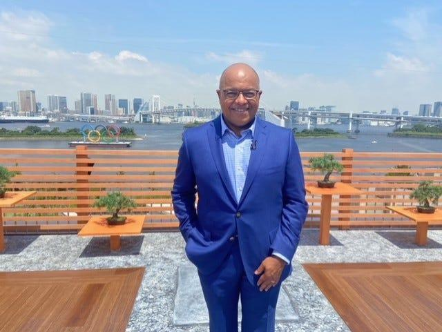 Mike Tirico, shown in Tokyo, will be NBC's face of Olympics coverage for the third time.