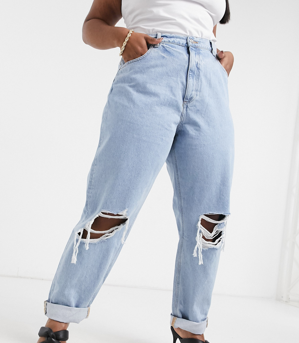 "<br><br><strong>ASOS CURVE</strong> Curve Recycled High Rise Slouchy Mom Jeans, $, available at <a href=""https://go.skimresources.com/?id=30283X879131&url=https%3A%2F%2Fwww.asos.com%2Fus%2Fasos-curve%2Fasos-design-curve-recycled-high-rise-slouchy-mom-jeans-in-lightwash-with-rips%2Fprd%2F20715200%3Fcolourwayid%3D60082001%26SearchQuery%3D%26cid%3D17079"" rel=""nofollow noopener"" target=""_blank"" data-ylk=""slk:ASOS"" class=""link rapid-noclick-resp"">ASOS</a>"