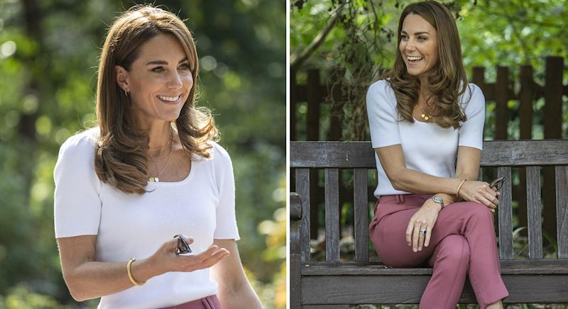 The Duchess of Cambridge wore a pair of rose pink tailored trousers from M&S for her meeting with parents in Battersea Park today. (PA Images)