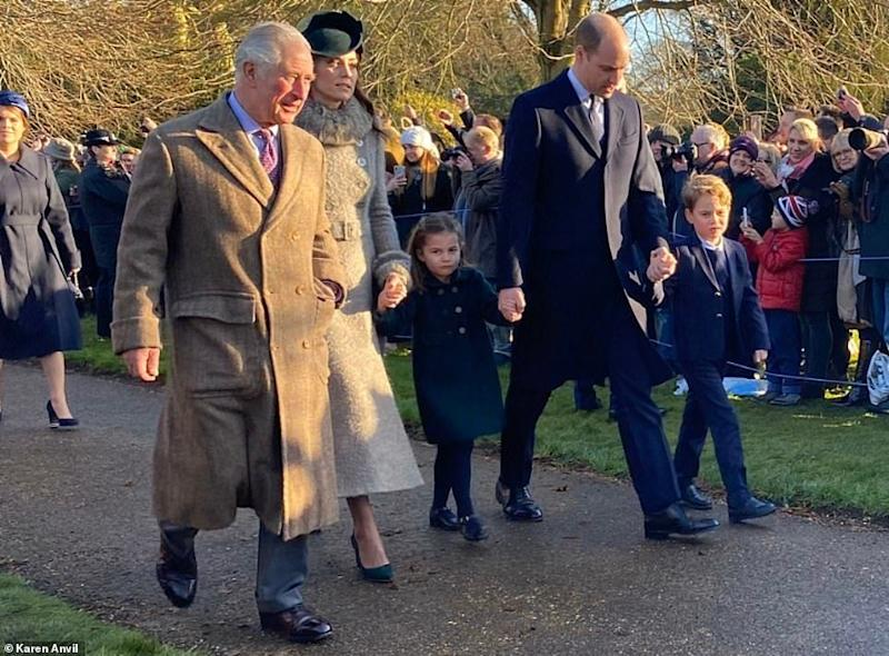 The Cambridges and Prince Charles walk to church