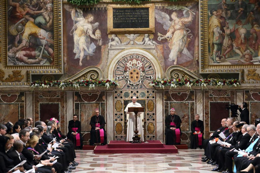 <p>Pope Francis gives State Of The World Address to accredited ambassadors to the Holy See at the Sala Regia (Regal Room) in Vatican City, Vatican. (Vatican Pool/Getty Images) </p>