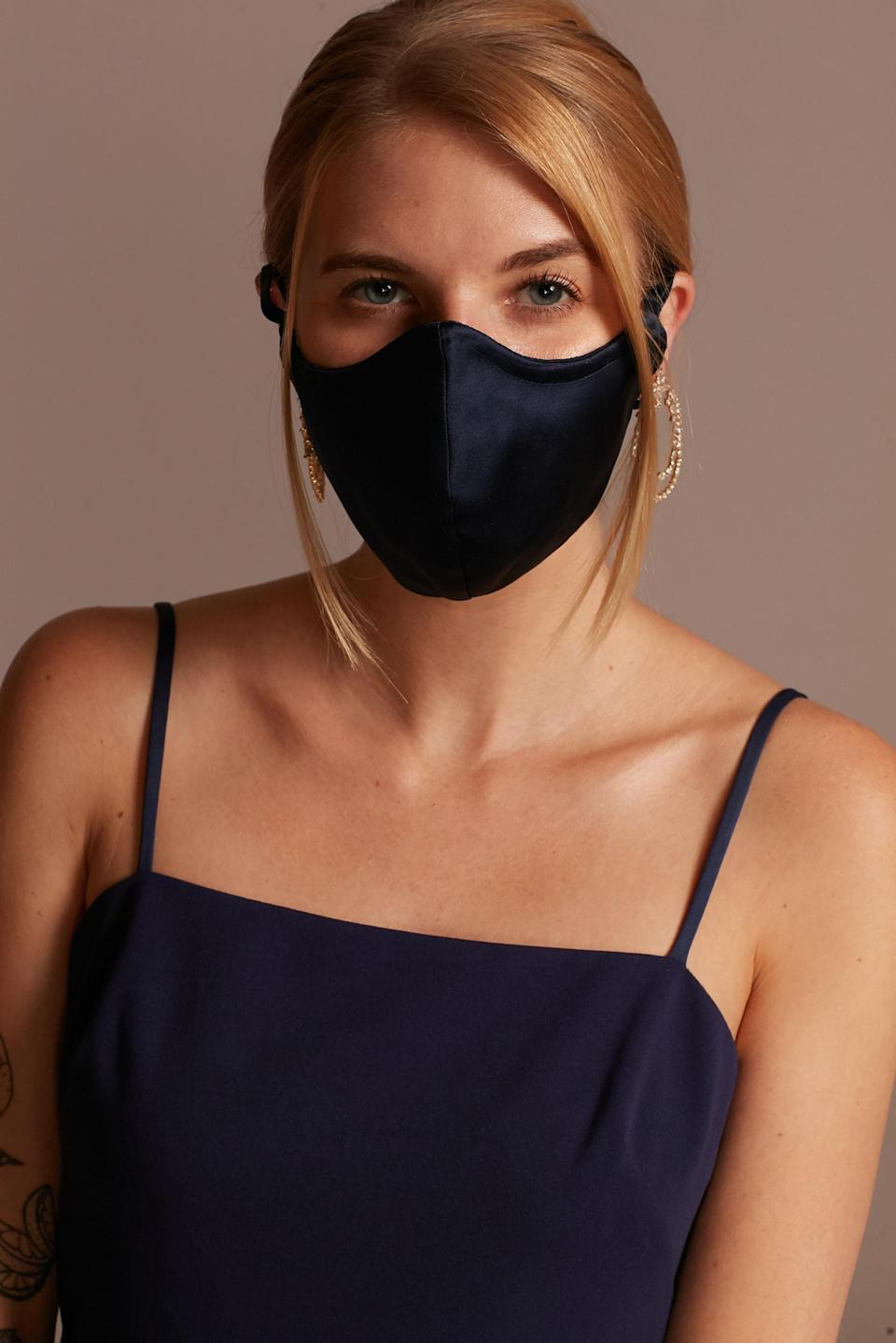 These satin bridesmaid masks can be made to exactly match their dresses. (David's Bridal)