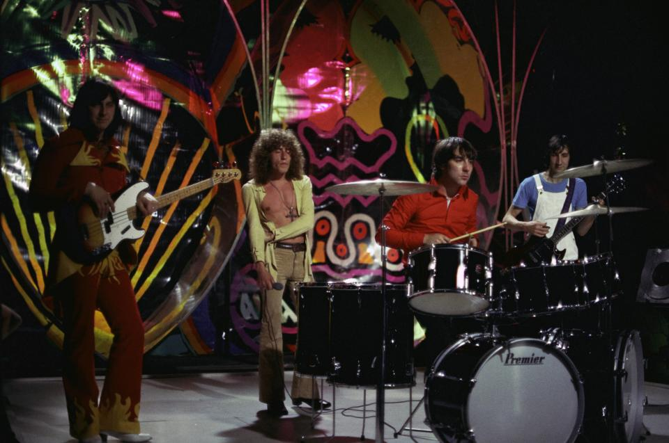 UNITED KINGDOM - MARCH 26:  TOP OF THE POPS  Photo of The Who, L-R: John Entwistle, Roger Daltrey, Keith Moon, Pete Townshend performing on show  (Photo by Ron Howard/Redferns)