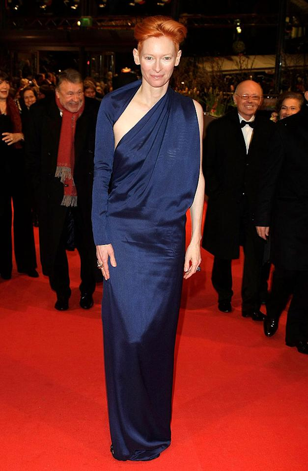 "Giving Camilla a run for her money was the awesomely androgynous Tilda Swinton, whose royal blue, one-sleeved Haider Ackermann gown was positively regal. Florian Seefried/<a href=""http://www.gettyimages.com/"" target=""new"">GettyImages.com</a> - February 11, 2010"