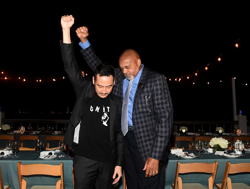 MIAMI BEACH, FL - DECEMBER 08:  Artist Glenn Kaino and Olympian Tommie Smith attend Kickstarter Dinner In Honor Of Art Basel And Artist Glenn Kaino & Olympian Tommie Smith At The Standard Spa, Miami at The Standard Spa on December 8, 2017 in Miami Beach, Florida.  (Photo by Ilya S. Savenok/Getty Images for Kickstarter)