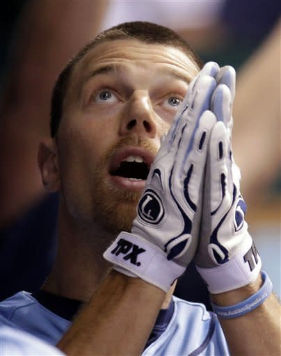 Tampa Bay Rays' Ben Zobrist reacts after his fifth-inning home run off Miami Marlins relief pitcher Chad Gaudin during an interleague baseball game on Friday, June 15, 2012, in St. Petersburg, Fla. (AP Photo/Chris O'Meara)