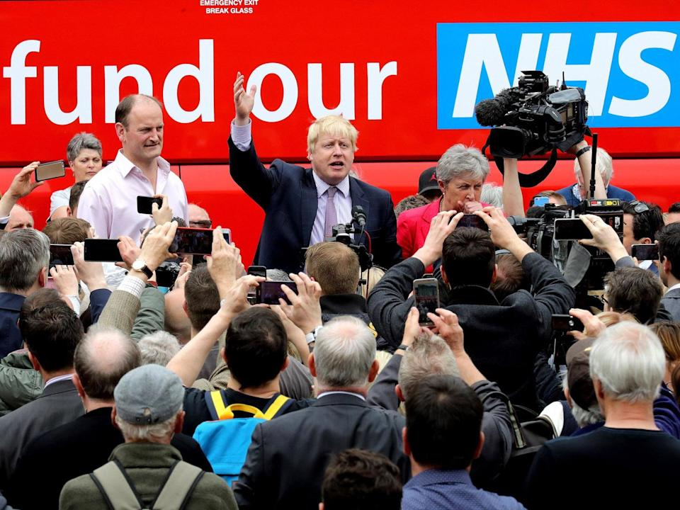 <p>Boris Johnson campaigning for Leave</p>Getty