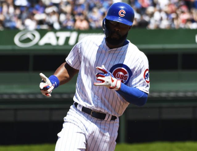Chicago Cubs' Jason Heyward (22) runs the bases after hitting a home run against the Milwaukee Brewers during the first inning of a baseball game, Friday, Aug. 2, 2019, in Chicago. (AP Photo/David Banks)