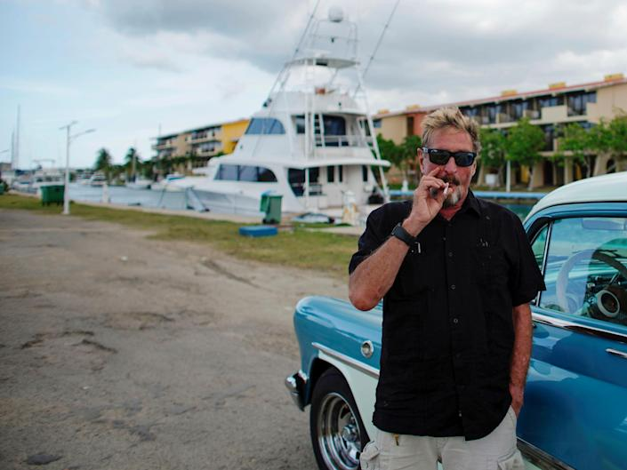 John McAfee, founder of McAfee Antivirus, in front of his boat in Havana, Cuba, 4 July, 2019: Reuters