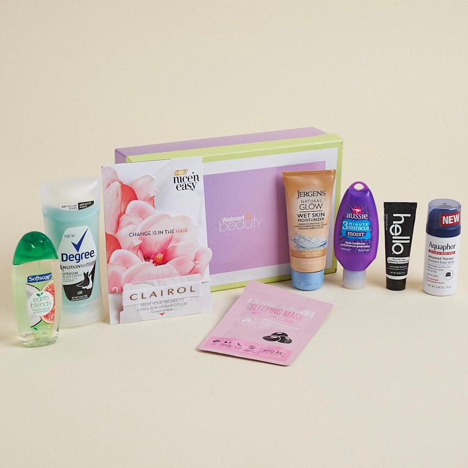 """This beauty box is a major deal. You literally only have to pay the cost of shipping, and the quarterly box arrives with all kinds of beauty and hair samples for the season. $5, Walmart. <a href=""""https://beautybox.walmart.com/"""" rel=""""nofollow noopener"""" target=""""_blank"""" data-ylk=""""slk:Get it now!"""" class=""""link rapid-noclick-resp"""">Get it now!</a>"""