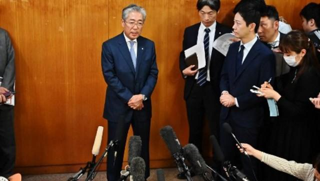 Japan's Olympic Committee President (JOC) Tsunekazu Takeda speaks to the press after a JOC board meeting in Tokyo on March 19, 2019. The head of Japan's Olympic Committee said on March 19 he would step down in June, as French authorities probe his involvement in payments made before Tokyo was awarded the 2020 Summer Games. AFP/File