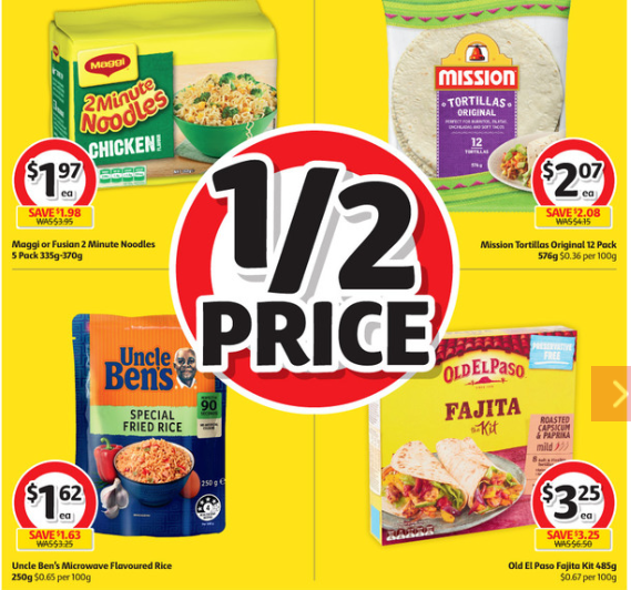 Noodles, rice and Mexican food items selling for half price at Coles.