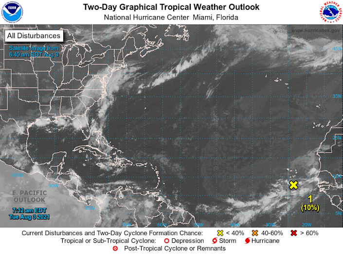 The National Hurricane Center's two-day tropical weather outlook map at 8 a.m. Tuesday, Aug. 3, 2021. The center is looking at an area of thunderstorms given a 10% development chance about 120 miles south of the Cabo Verde Islands.