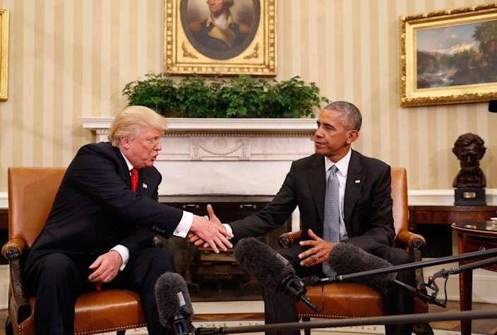 <p>NOV. 10, 2016 — President Barack Obama shakes hands with President-elect Donald Trump in the Oval Office of the White House in Washington. (AP Photo/Pablo Martinez Monsivais) </p>