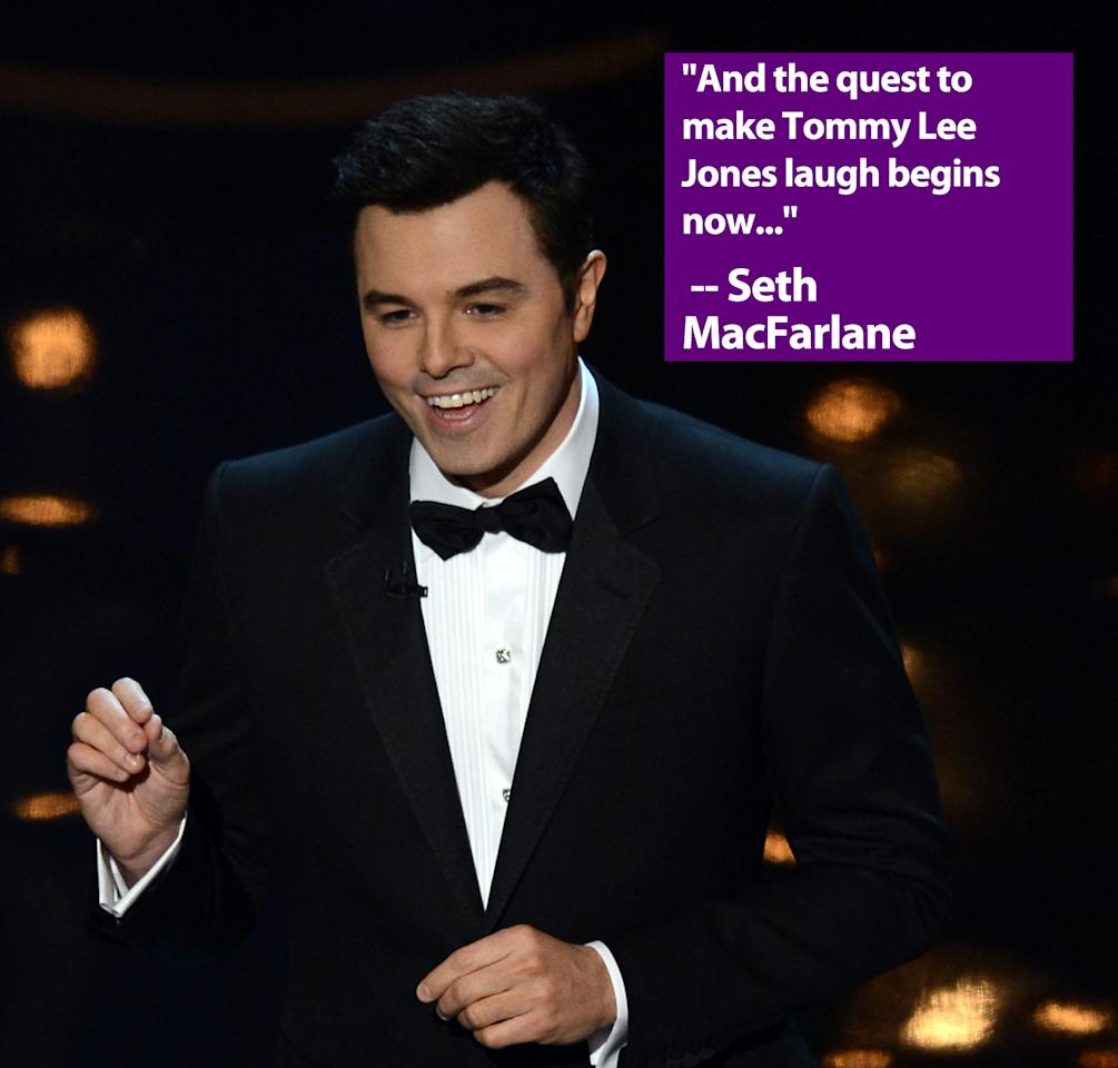 HOLLYWOOD, CA - FEBRUARY 24:  Host Seth MacFarlane speaks onstage during the Oscars held at the Dolby Theatre on February 24, 2013 in Hollywood, California.  (Photo by Kevin Winter/Getty Images)