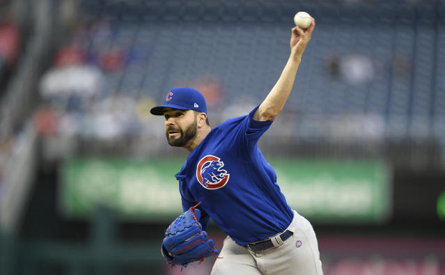 Chicago Cubs starting pitcher Jaime Garcia delivers during the first inning of the first baseball game of a doubleheader against the Washington Nationals, Saturday, Sept. 8, 2018, in Washington. (AP Photo/Nick Wass)