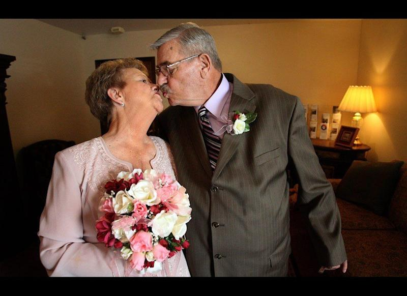 Mozelle Wales, 72, married Gene Kincheloe, 66, on Feb. 14, 2009, at a funeral home in Twin Falls, Idaho. The couple met at a grief-support group there a year earlier after they both lost their longtime spouses and decided to begin anew together.