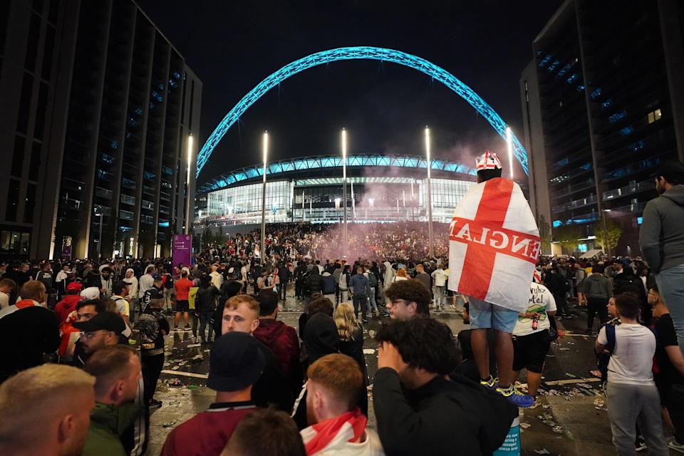 England fans outside Wembley stadium during the UEFA Euro 2020 final. (Zac Goodwin/PA) (PA Wire)