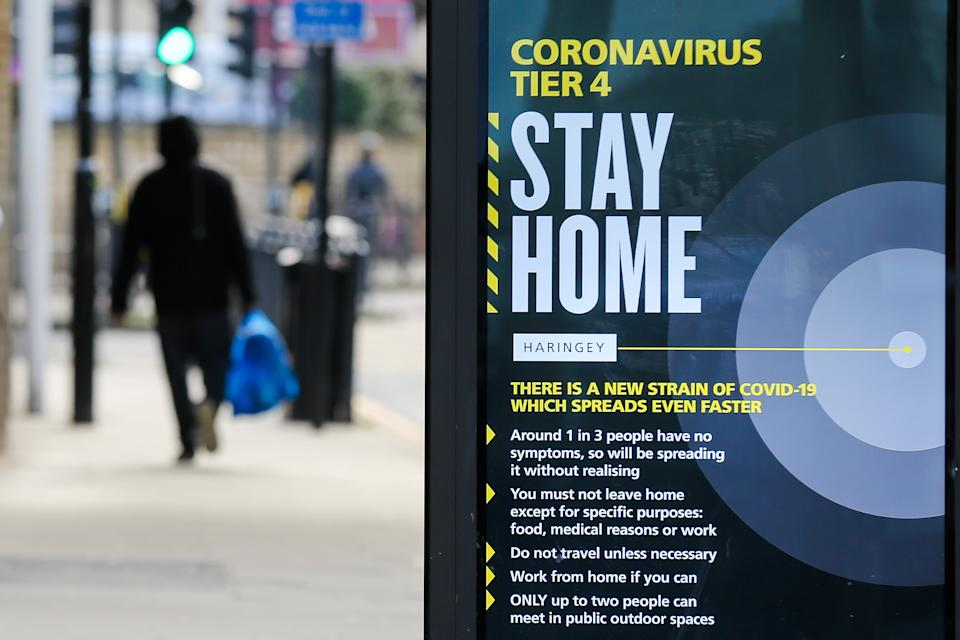 A 'Stay Home' sign seen in London, amid Covid-19 pandemic.