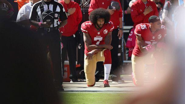 PHOTO: Colin Kaepernick #7 of the San Francisco 49ers kneels for the National Anthem before their game against the Tampa Bay Buccaneers at Levi's Stadium, Oct. 23, 2016, in Santa Clara, Calif. (Ezra Shaw/Getty Images, FILE)