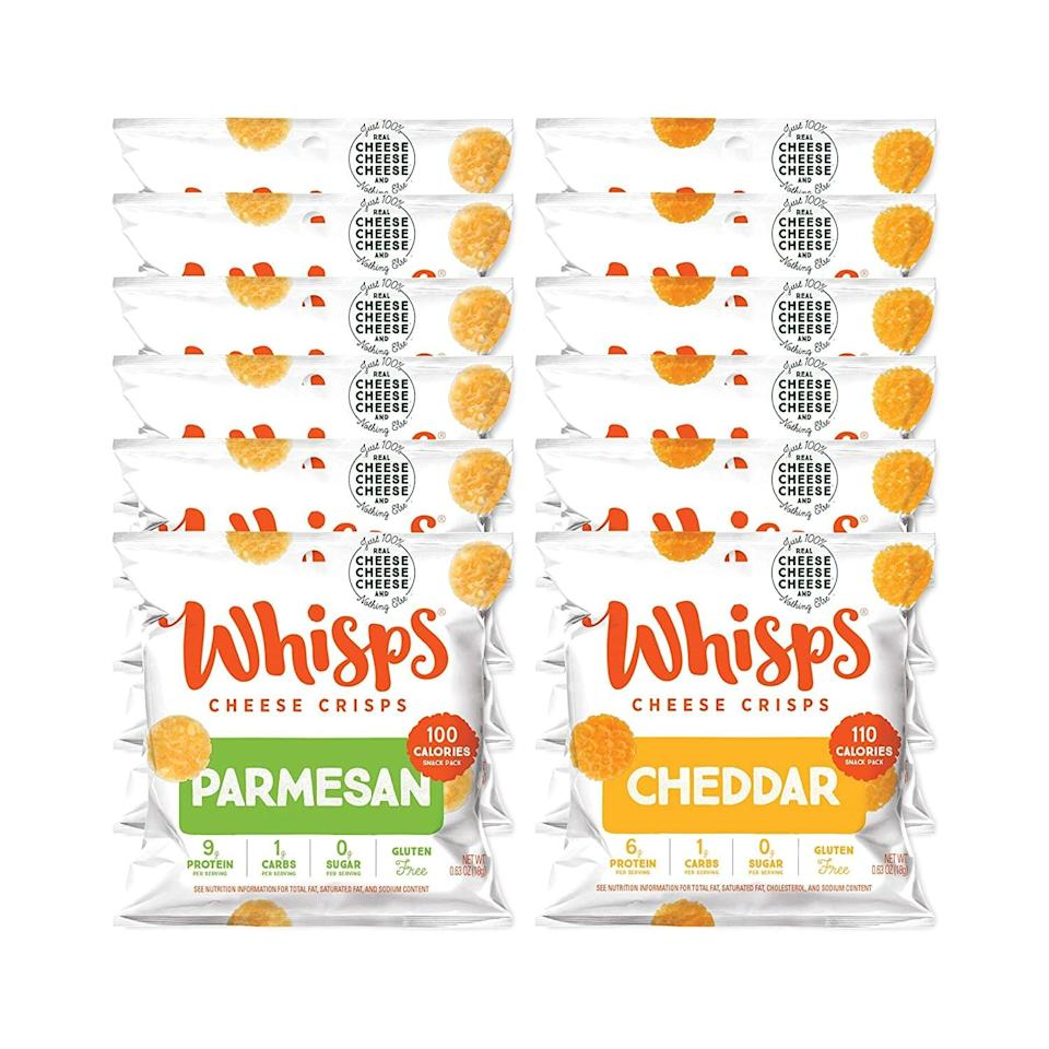 <p>Any cheese-lover will be obsessed with these <span>Whisps Parmesan &amp; Cheddar Cheese Crisps</span> ($15 for 12). Good luck picking a favorite flavor.</p>