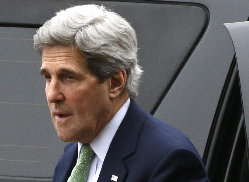 This photo taken Feb. 27, 2013 shows Secretary of State John Kerry arriving at the Foreign Ministry in Paris. The U.S. is moving closer to direct involvement in Syria's civil war with the delivery of non-lethal assistance directly to the rebels fighting President Bashar Assad's regime. Officials say the decision to offer ready-made meals and medical supplies to the rebels may be a step toward eventual U.S. military aid, which the administration has so far resisted.  (AP Photo/Jacquelyn Martin, Pool)