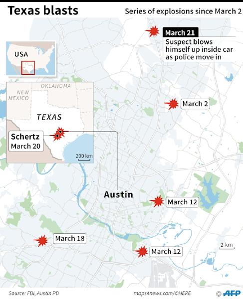 Map of the US state of Texas, locating the sites of five package bombings (AFP Photo/William ICKES)
